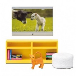 Lundby Smaland tv met kast en zitpoef